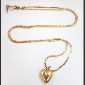 14k Yellow Gold Puffed Heart Necklace